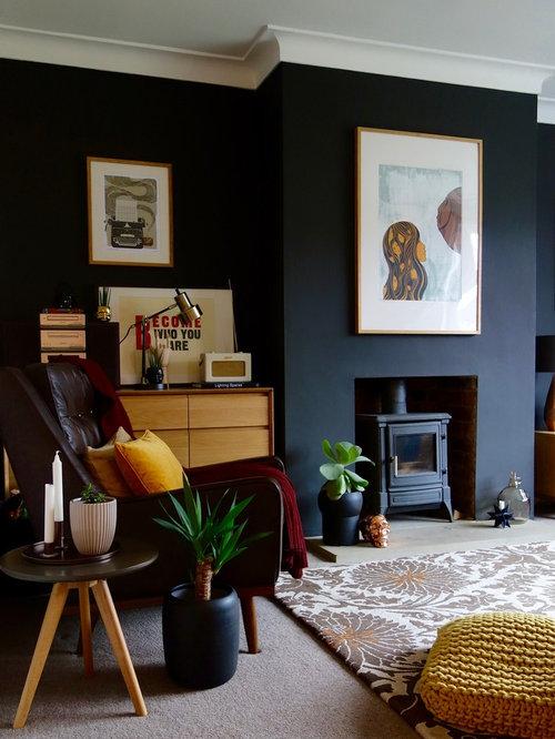 Foton och inredningsidéer för retro separata vardagsrum, med en ...