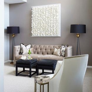Ispirazione per un soggiorno tradizionale di medie dimensioni e chiuso con sala formale, pareti grigie, moquette, nessun camino, nessuna TV e pavimento beige