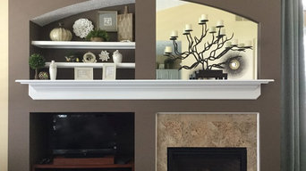 Living Room remodel with fireplace, accent paint, accessories