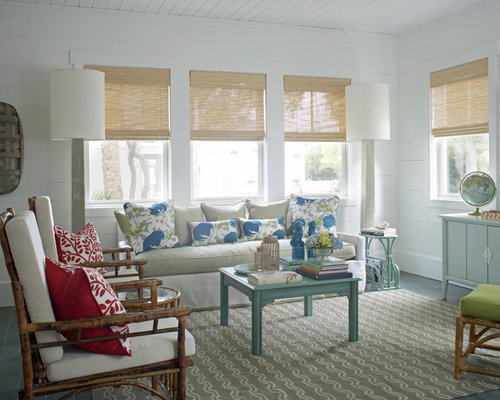 Mid Sized Beach Style Formal And Enclosed Gray Floor Living Room Idea In Atlanta With