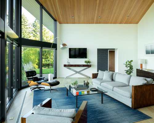 Midcentury Modern Living Room Photo In Portland