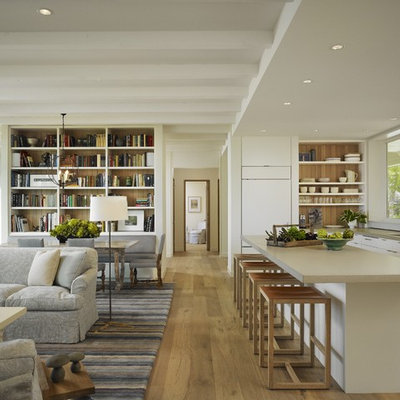 Inspiration for a mid-sized transitional open concept light wood floor living room remodel in Chicago