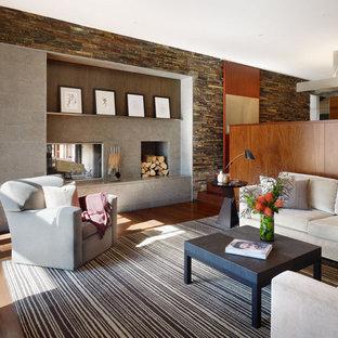 Esempio di un soggiorno moderno con camino bifacciale