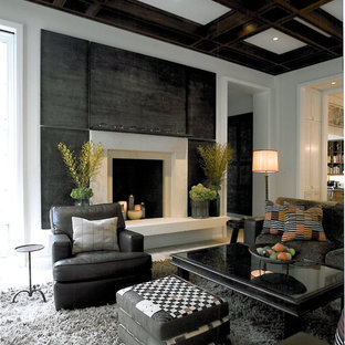 Living room - contemporary living room idea in Chicago with a standard fireplace