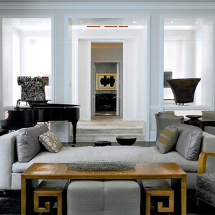 Example of a trendy living room design in Chicago with a music area and white walls