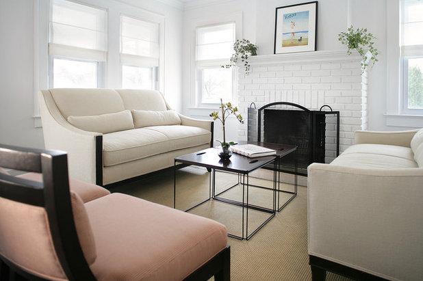 Coastal Living Room by Sheila Rich Interiors, LLC