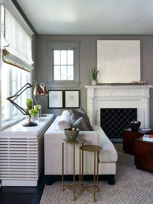 Inspiration For A Transitional Living Room Remodel In DC Metro With Gray  Walls And A Standard