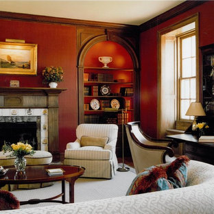 Example of a classic living room design in DC Metro with red walls
