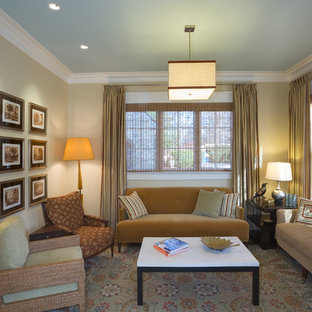 Medium sized contemporary formal enclosed living room in DC Metro with beige walls and no tv.