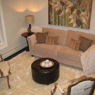 Photo of a small transitional formal open concept living room in New York with ceramic floors.