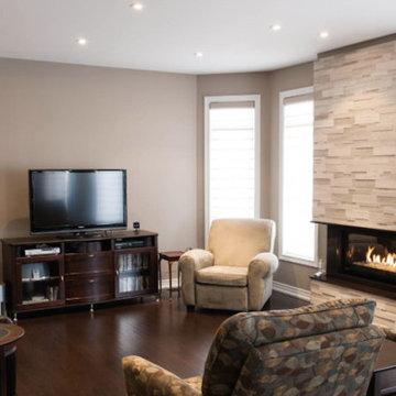 Living Room, Stone Fireplace, Dark Hardwood Floors, 2013