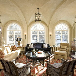 Inspiration for a huge rustic living room remodel in Minneapolis with beige walls
