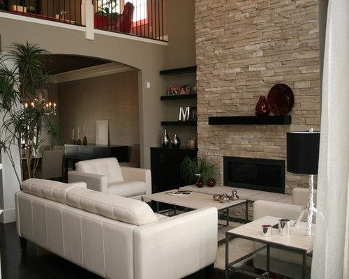 Shelves next to fireplace houzz for Sejour moderne decoration