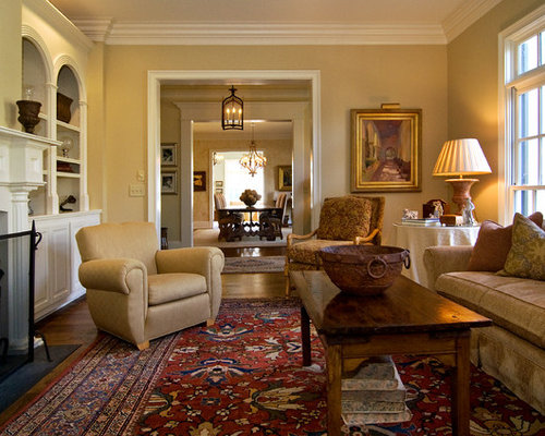 Example Of A Mid Sized Classic Formal And Enclosed Medium Tone Wood Floor Living Room