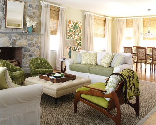 Curtains With Blinds Living Room Design Ideas, Remodels & Photos ...