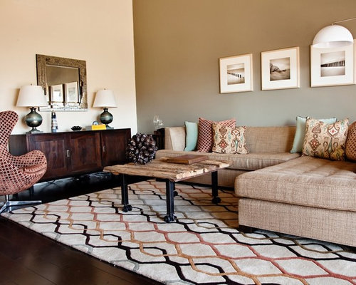 Inspiration For A Contemporary Living Room Remodel In Austin With Beige  Walls