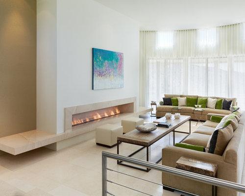 inspiration fr fernseherlose offene moderne wohnzimmer mit weier wandfarbe gaskamin und marmorboden in phoenix - Marmorboden Wohnzimmer