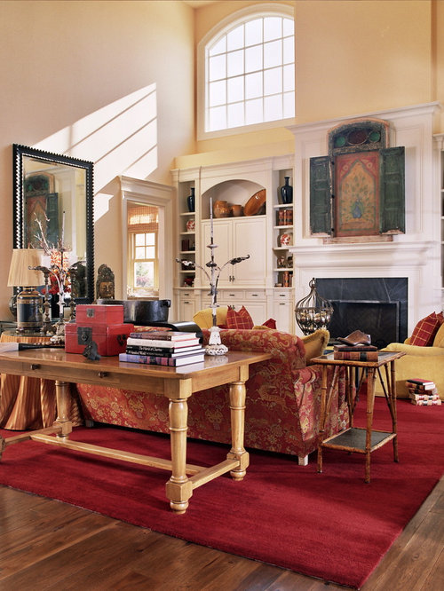 Living room design ideas remodels photos with yellow for Red and cream living room designs
