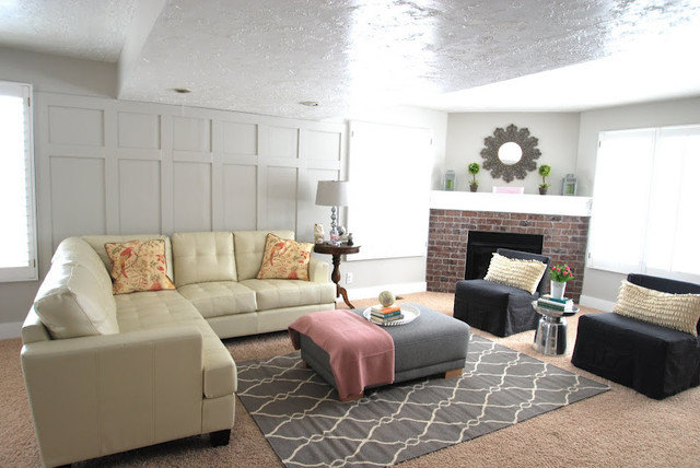 Sherwin williams paint colors - Living room with cream leather sofa ...