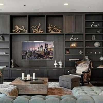 Living room - living room idea with a media wall