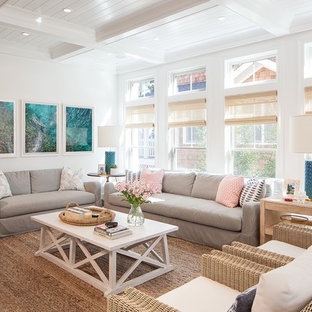 Inspiration for a beach style formal living room remodel in New York with white walls