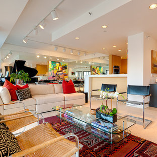 Living room - contemporary living room idea in Minneapolis with white walls