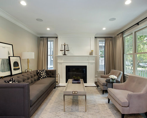 Mid Sized Transitional Formal Dark Wood Floor Living Room Photo In Chicago  With Gray Walls