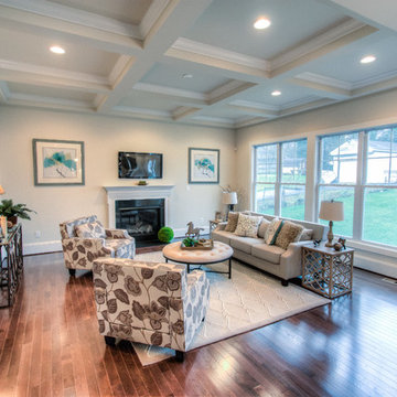 Living Room w/Fireplace and Coffered Ceiling