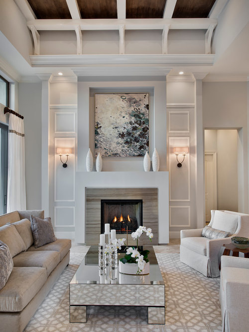 Wonderful Transitional Formal Enclosed Living Room Idea In Miami With Gray Walls And  A Standard Fireplace