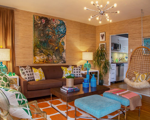 living room swing. Inspiration for an eclectic enclosed medium tone wood floor living room  remodel in Los Angeles with Living Room Swing Chair Houzz