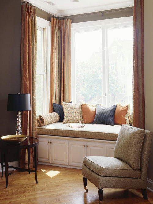 Window seat storage houzz for Living room 2 seating areas