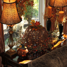 Traditional Living Room Living Room (Window Table) Decorated For Fall