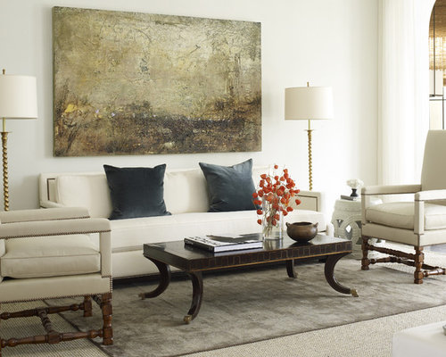 Inspiration For A Large Mediterranean Formal Open Concept Living Room Remodel In Houston With White Walls