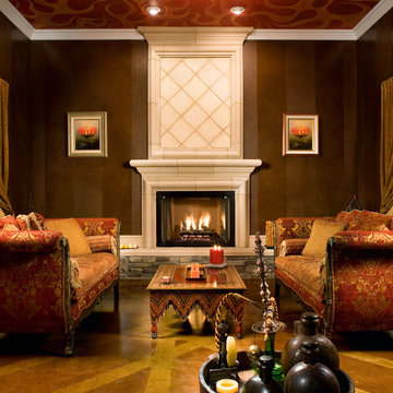 Living room with fireplace and ceiling mural