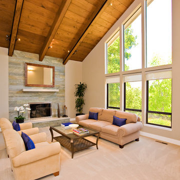 living room with fireplace by master stonemason