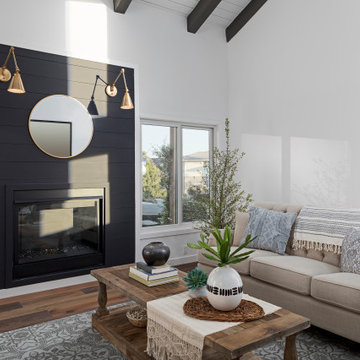 Living Room with Fireplace | Complete Remodel | Hollywood Hills