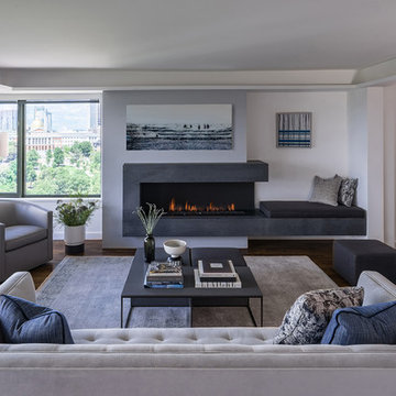 Living Room with Modern Fireplace