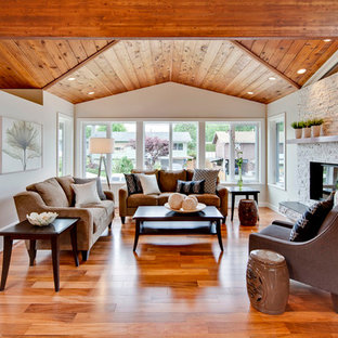 Living Room Mid Sized Transitional Formal And Open Concept Idea In Vancouver