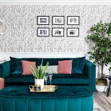 Living Room with Velvet Sofa, Contemporary Design