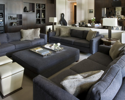 Dark gray sofa houzz for Grey couch living room