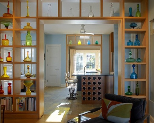 Open Shelves Living Room Houzz