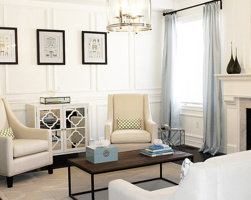 Inspiration For A Mid Sized Contemporary Living Room Remodel In Toronto With White Walls And