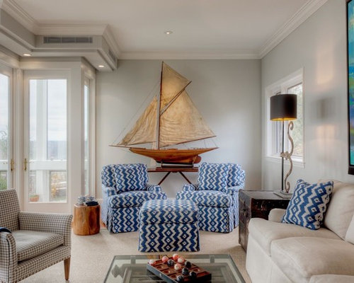Traditional Living Room Idea In Portland Maine With Gray Walls