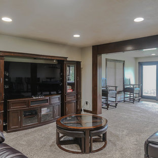 Mid-sized traditional open concept living room in Other with a home bar, white walls, carpet, no fireplace, a freestanding tv and beige floor.