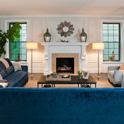 Inspiration for a huge eclectic open concept dark wood floor living room remodel in Chicago with beige walls, a standard fireplace and a tile fireplace