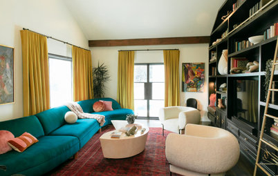 Tour a Designer's Bold and Colorful Living Room and Guest Bath