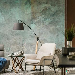 Ispirazione per un soggiorno minimal di medie dimensioni e aperto con libreria, pareti multicolore, pavimento in gres porcellanato, TV a parete e pavimento bianco