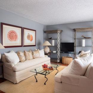 マイアミの中サイズのビーチスタイルのおしゃれな独立型リビング (フォーマル、青い壁、テラコッタタイルの床、暖炉なし、埋込式メディアウォール、オレンジの床) の写真