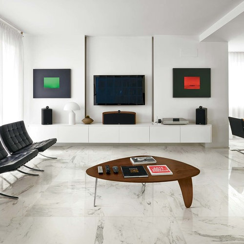 modern floor tiles design for living room. Mid sized modern open concept and formal marble floor living room idea in  Melbourne with Floor Tiles Modern Living Room Houzz