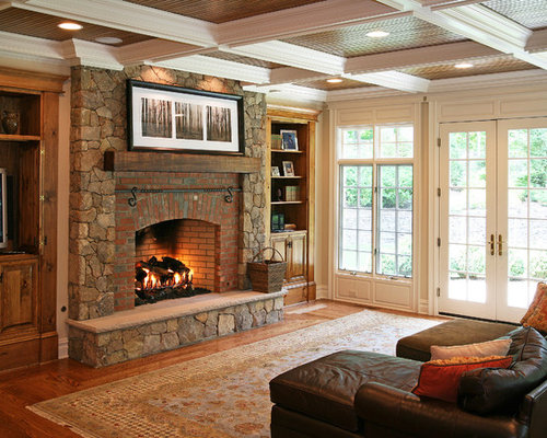 Elegant Living Room Photo In Other With A Brick Fireplace Surround